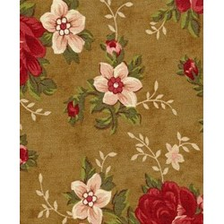 Vintage Robyn Pandolph - Fat Quarter - Folk Art Christmas III Roses - Brown