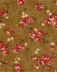 Vintage Robyn Pandolph - Fat Quarter - Folk Art Christmas III Rose Vine - Brown