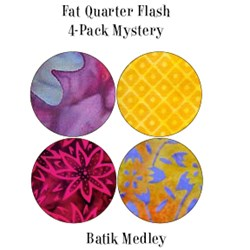 Vintage Fat Quarters- Circa  2012!  Batik Medley - Multi Colored - Fat Quarter Flash 4-Pack Mystery