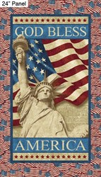 "Statue of Liberty 24"" Panel - Stars and Stripes by Linda Ludovico for Northcott Fabrics"