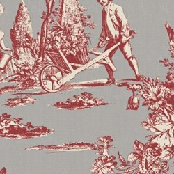 Red on Gray Toile by, Hennessy, Williamsburg Collection