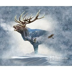 "Call of the Wild Digital Print - 31"" x 44"" Moose Panel - by Hofman Fabrics"