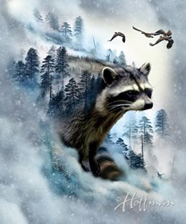 "Call of the Wild Digital Print - 27"" x 44"" Raccoon Panel - by Hofman Fabrics"