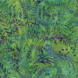 Island Batik Red Tide - Green with Purple & Blue