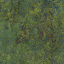 Island Batik Red Tide - Green& Purple Vine