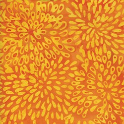 "14"" Remnant Piece - Orange Daisy Bursts - Island Batik"