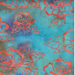Island Batik - Teal with Orange Flowers