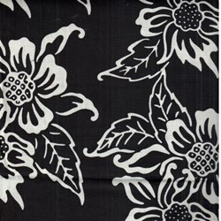 "3 Yards & 16"" End of Bolt Piece - Island Batik - Black/White Floral"