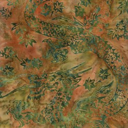 3 Yards End of Bolt Piece - Island Batik - Green/Orange Dragon