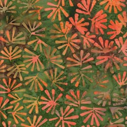 2 Yards End of Bolt Piece - Island Batik - Green/Orange Leaf