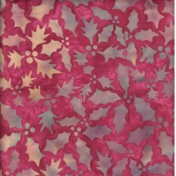 "3 Yards & 4"" End of Bolt Piece - Island Batik - Red/Tan Holly & Berries"