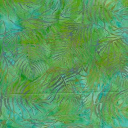 Island Batik Rose of Sharon - Fat Quarter - Blue & Green Leaves