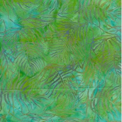 "35"" Remnant - Island Batik Rose of Sharon -  Blue & Green Leaves"