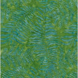 "28"" Remnant - Island Batik Rose of Sharon - Green Ferns"