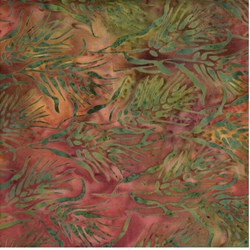 Island Batik Red and Green Leaf
