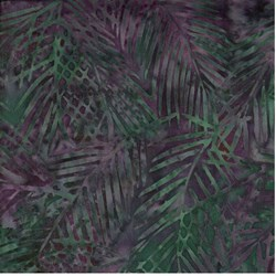 "END OF BOLT - 48""-Island Batik Dark Plum Green Fern"