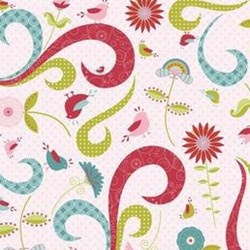 2/3 Yard Piece - Love Birds Pink by Riley Blake Fabrics