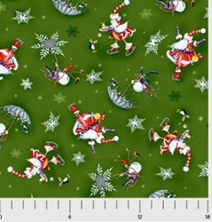 "44"" End of Bolt Piece - More Merriment- Green Print- by P&B Textiles"