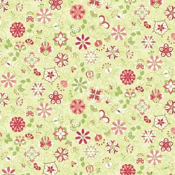 "35"" Remnant Piece - Floral Circles on Green - Mulberry Lane-Raspberry Lane By Susan Beevers"