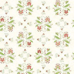 Medium Floral on Cream- Mulberry Lane-Raspberry Lane By Susan Beevers