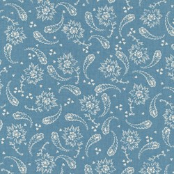 Vintage Shirting & Dress Prints 1880 to 1910 - Blue Paisley - by Paintbrush Studios
