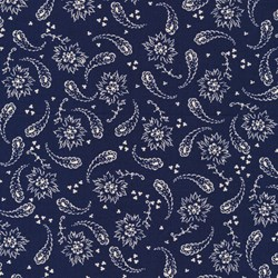 "20"" Remnant Piece - Vintage Shirting & Dress Prints 1880 to 1910 - Dark Blue Paisley - by Paintbrush Studios"