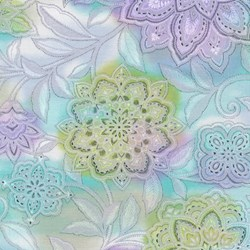 "End of Bolt - 36"" - - Piccadilly - Large Floral Multi Colored with Silver Metallic Shimmer - by Paintbrush Studios"