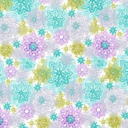 "End of Bolt - 44"" - Piccadilly - Medium Floral Multi Colored with Silver Metallic Shimmer - by Paintbrush Studios"