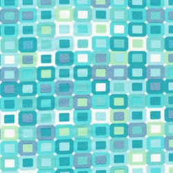 "End of Bolt - 61"" - Piccadilly - Teal Geometric Squares with Silver Metallic Shimmer - by Paintbrush Studios"