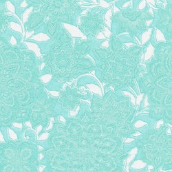 "63"" - End of Bolt -Piccadilly - Teal Tonal Vine with Silver Metallic Shimmer - by Paintbrush Studios"