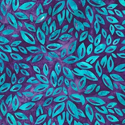 Robert Kaufman Artisan Batiks - Fancy Feathers - Teal Leaf on Violet