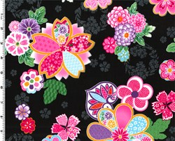 Sakura Multi Color Graphic Floral on Black