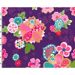 Sakura Multi Color Graphic Floral on Purple