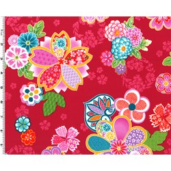 Sakura Multi Color Graphic Floral on Red
