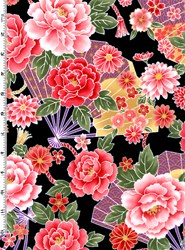 Sakura Sakura Collection - Multi Fans & Florals on Black