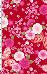 "End of Bolt - 84"" - Sakura - Floral & Butterfly Print with Glitter on Red"