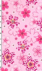 Sakura - Pink Flowers with Glitter on Pink