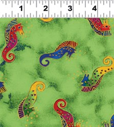 "20"" Remnant - Sea Spirits by Laurel Burch - Sea Spirit Green Metallic Tossed Sea Horses"