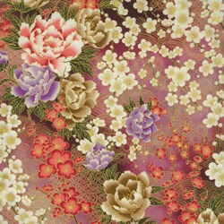 "End of Bolt - 36"" - Large Mauve Floral - Serene Garden by Yuko Hasegawa for RJR Fabrics - Includes Bonus Pattern!"