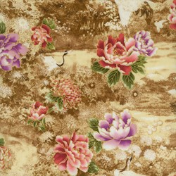 "End of Bolt - 60"" - Cranes Floral Print Brown - Serene Garden by Yuko Hasegawa for RJR Fabrics -<br><i> Includes Bonus Pattern!</i>"
