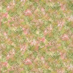 Tonal Pink/Green Floral Print - Serene Garden by Yuko Hasegawa for RJR Fabrics -<br><i> Includes Bonus Pattern!</i>