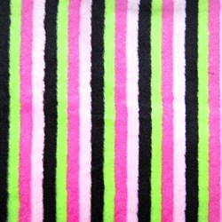 "Hot Pink & Lime Cuddle Striped Minky - 60"" wide"
