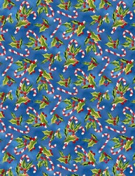 Snowy Friends Holly and Candy Cane Toss on Blue  Quilt Fabric