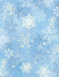 "31"" Remnant - Snowy Friends Light Blue Snowflake Toss Quilt Fabric"
