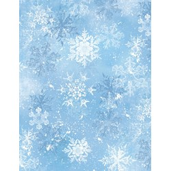 "13"" Remnant - Snowy Friends Light Blue Snowflake Toss Quilt Fabric"