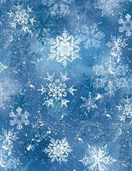 "8"" Remnant - Snowy Friends Dark  Blue Snowflake Toss Quilt Fabric"