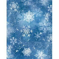 "25"" Remnant - Snowy Friends Dark  Blue Snowflake Toss Quilt Fabric"
