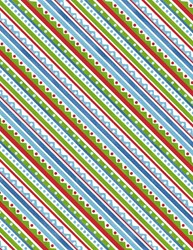 Snowy Friends Multi Colored Diagonal Stripe  Quilt Fabric