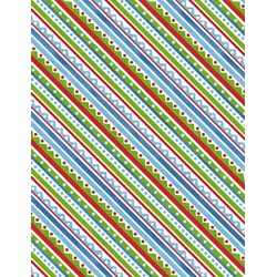 "18"" Remnant - Snowy Friends Multi Colored Diagonal Stripe  Quilt Fabric"