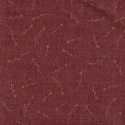 "18"" Remnant - Vintage Find!  Colonial Inn Dk Red Sprigs Cotton Fabric by Whimsicals -"